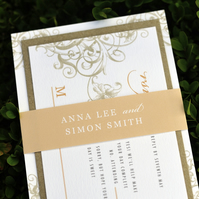 Vintage Wedding Invitation - 'Floral Swirl' Design - One Sample