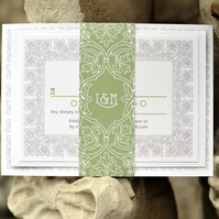 Art Nouveau Wedding Invitation - 'Vintage Border' Design - One Sample