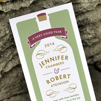 Vineyard or Pub Wedding Invitation - 'Wine Bottle' Design - One Sample