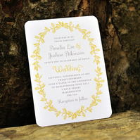 French Antique Wedding Invitation - 'Wreath' Design - One Sample
