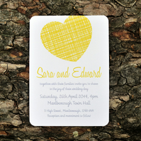 Bright Modern Wedding Invitation - 'Woven Heart' Design - One Sample