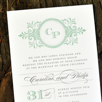 Vintage Wedding Invitation - 'Classic Monogram' Design - One Sample
