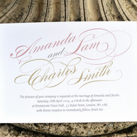 Calligraphy Wedding Invitation - 'Chatsworth' Design - One Sample