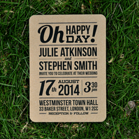 Modern Block Type Wedding Invitation - 'Slim Type' Design - One Sample