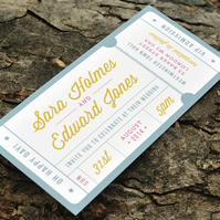 Admission Ticket Wedding Invitation - 'Just the Ticket' Design - One Sample