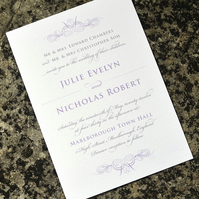 Classic Wedding Invitation - 'Swoon' Design - One Sample