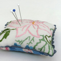 Vintage Embroidered Linen Pincushion