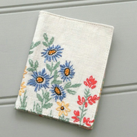 Needlecase, vintage embroidered linen, vintage printed cotton