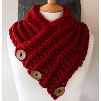 Borth Button Cowl - Berry