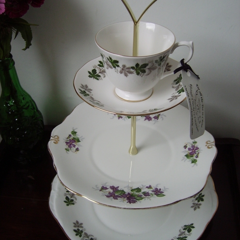 Tea Cup 3 Tier Cake Stand Purple And Green Leaf Folksy