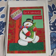 Unique Hand Crafted special Friend Christmas Card