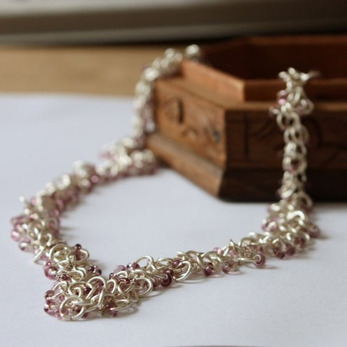 Silver Chain Maille Purple Beaded Necklace - SOLD
