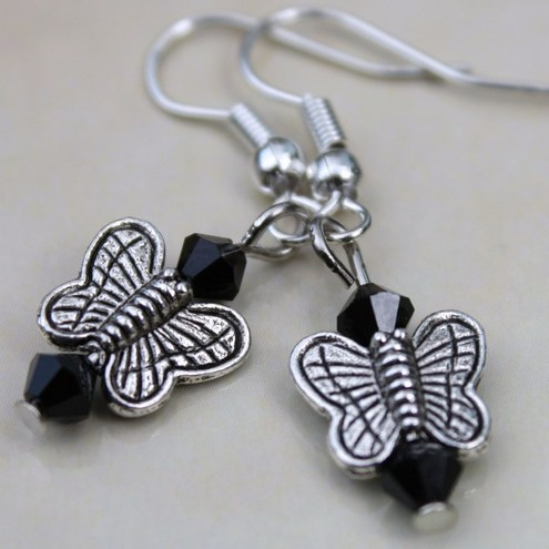 Tibetan Silver and Black Crystal Butterfly Drop Earrings - SOLD