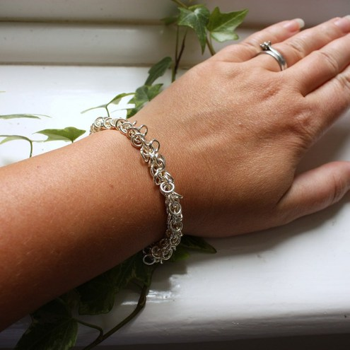 Chunky Silver Link Chain Maille Bracelet with Lobster Clasp