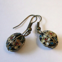 Antique Brass Cloisonne Bead Earrings
