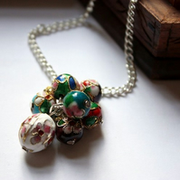 Silver Cloisonne Beaded Necklace