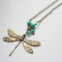 Antique Brass Dragonfly and Turquoise Bead Necklace - SOLD
