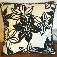 Pair of PomPom Trimmed Black and White Cushions