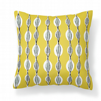 Fifties Abstract - Yellow -    Cushion with Feather Filler