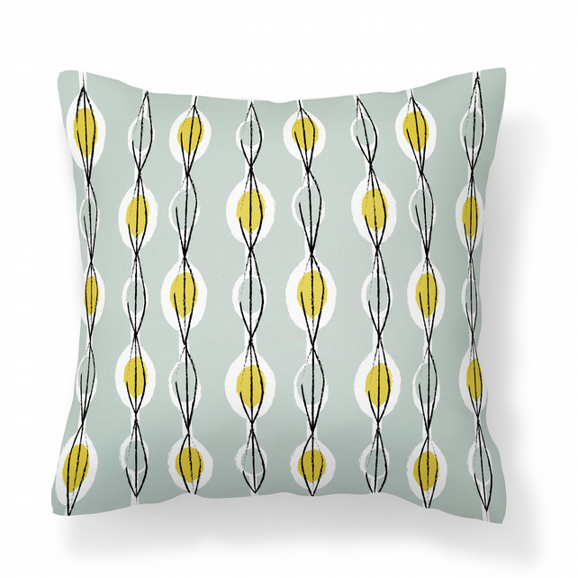 Fifties Abstract - Dove Grey -  Cushion with Feather Filler