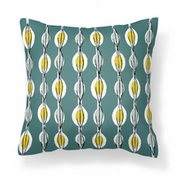 Fifties Abstract - Teal -   Cushion with Feather Filler