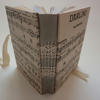 """Darling"" handmade journal from recycled & vintage paper"