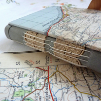 Vintage map hand made journal from recycled papers, lace (Wales, Snowdonia)