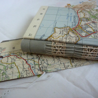 Vintage map hand bound journal from recycled papers, lace (Wales-Snowdonia)