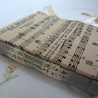Vintage music score hand made journal 'Lilli Marlene' recycled paper, lace
