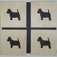 Set of 4 Westie Coasters
