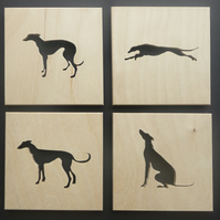 Set of 4 Greyhound Placemats