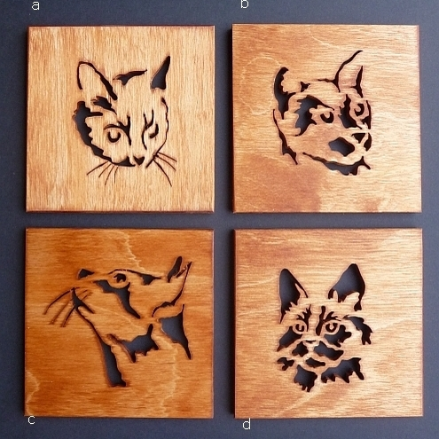 Set of 4 Cat Coasters
