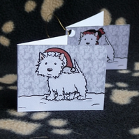 Set of 6 Westie Christmas labels