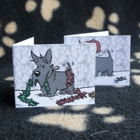 Set of 6 Scottish Terrier Christmas labels