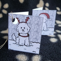 Set of 6 Bichon Friese Christmas labels