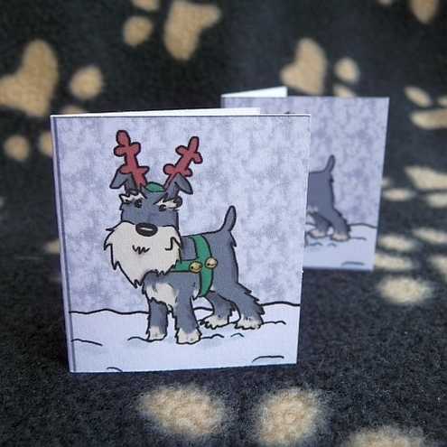 Set of 6 Schnauzer Christmas labels