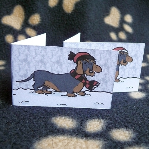 Set of 6 Wire-Haired Dachshund Christmas labels