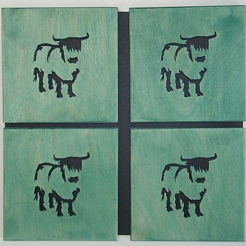 Set of 4 Highland Cow Coasters