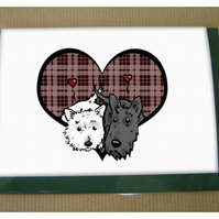 Scottie Westie Heart Card