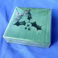 Holly sprig coasters
