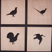 set of 4 Scottish bird coasters