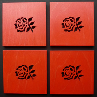 Set of 4 English Rose coasters.