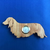 Shaped Long Haired Dachshund Clock