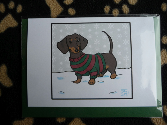 Smooth Haired Dachshund Christmas Card