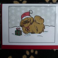 Pekinese Christmas Card