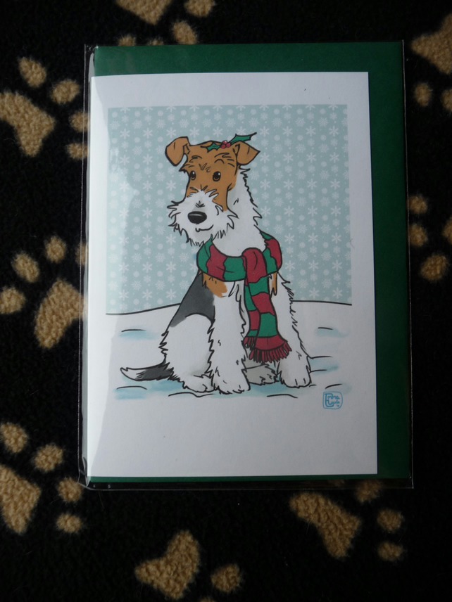 Wire Haired Fox Terrier Christmas Card - Folksy