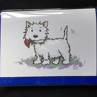 West Highland Terrier Rose Card