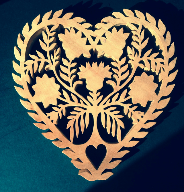 Scandinavian style heart shaped trivet- pot holder-wall decoration.