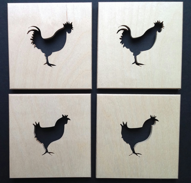 Set of 4 Chicken coasters