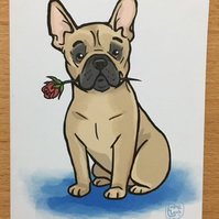 French Bulldog Rose card